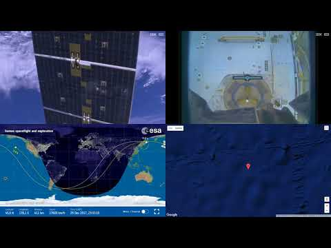 Robotic Arm Operating On Space-X CRS-13 ISS Space Station Earth View LIVE NASA/ESA Cameras And Map 7