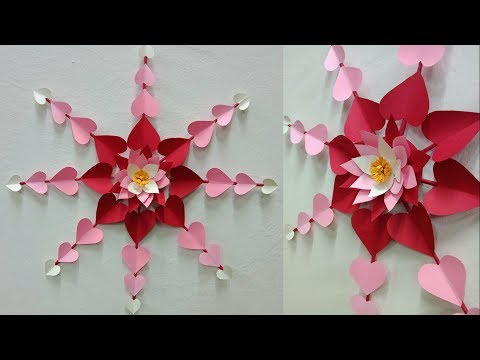 Hanging paper heart flower wall art tutorial | DIY easy paper crafts