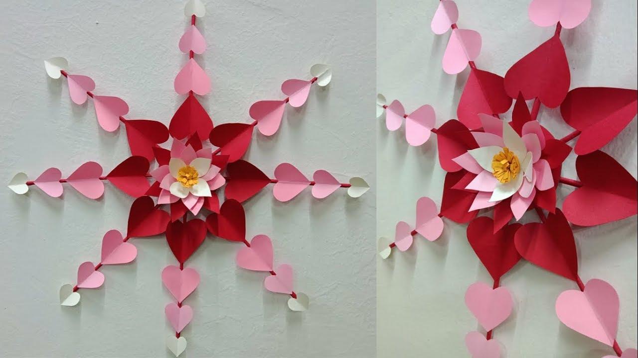 Hanging Paper Heart Flower Wall Art Tutorial Diy Easy Paper Crafts