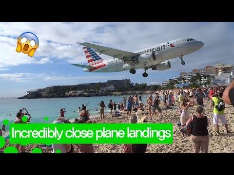 Incredibly Low Plane Landings At Saint Martin Airport