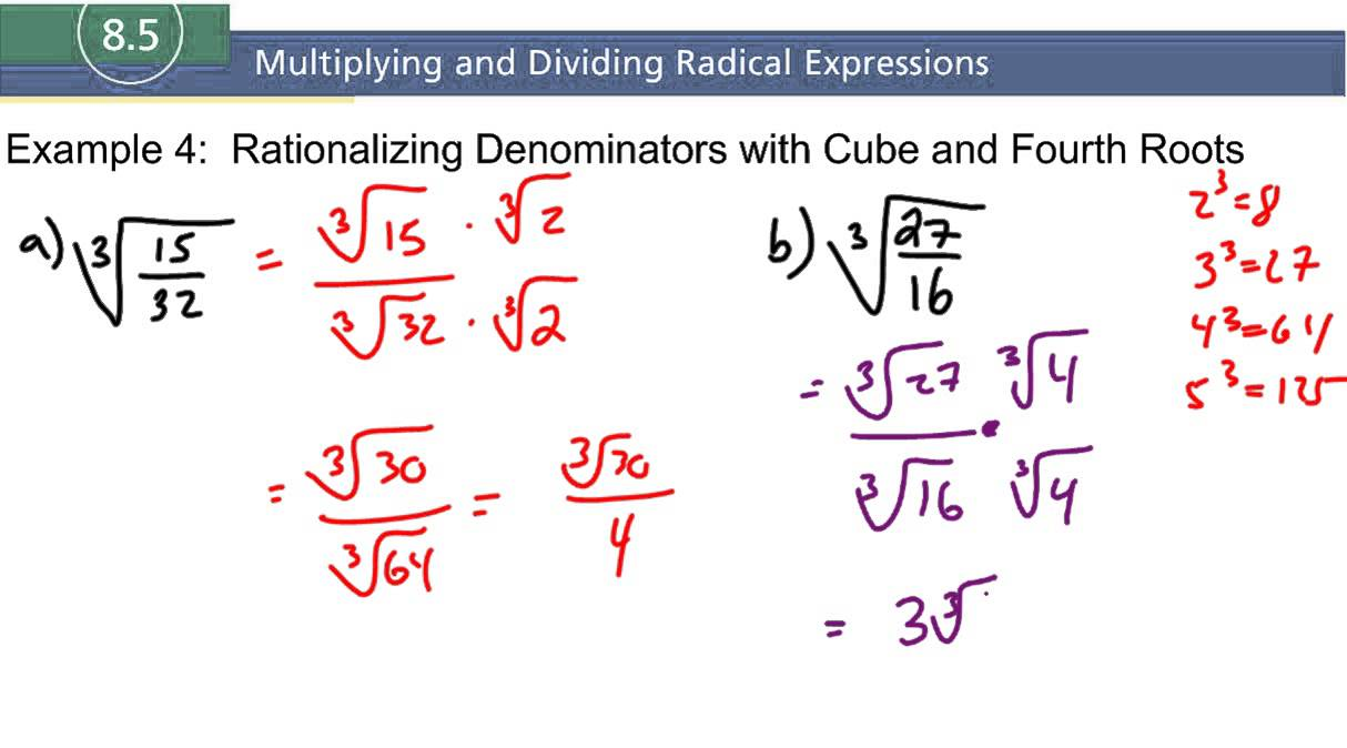 8 5 Example 4 Rationalizing Denominators With Cube And Fourth Roots