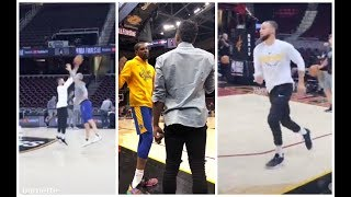 Donovan Mitchell watches Stephen Curry work on his crazy shots in Cleveland