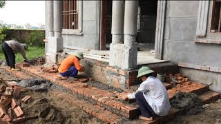 Great Skill And Method Of Building Brick Steps - Fast And Accurate Way To Install Brick Tier