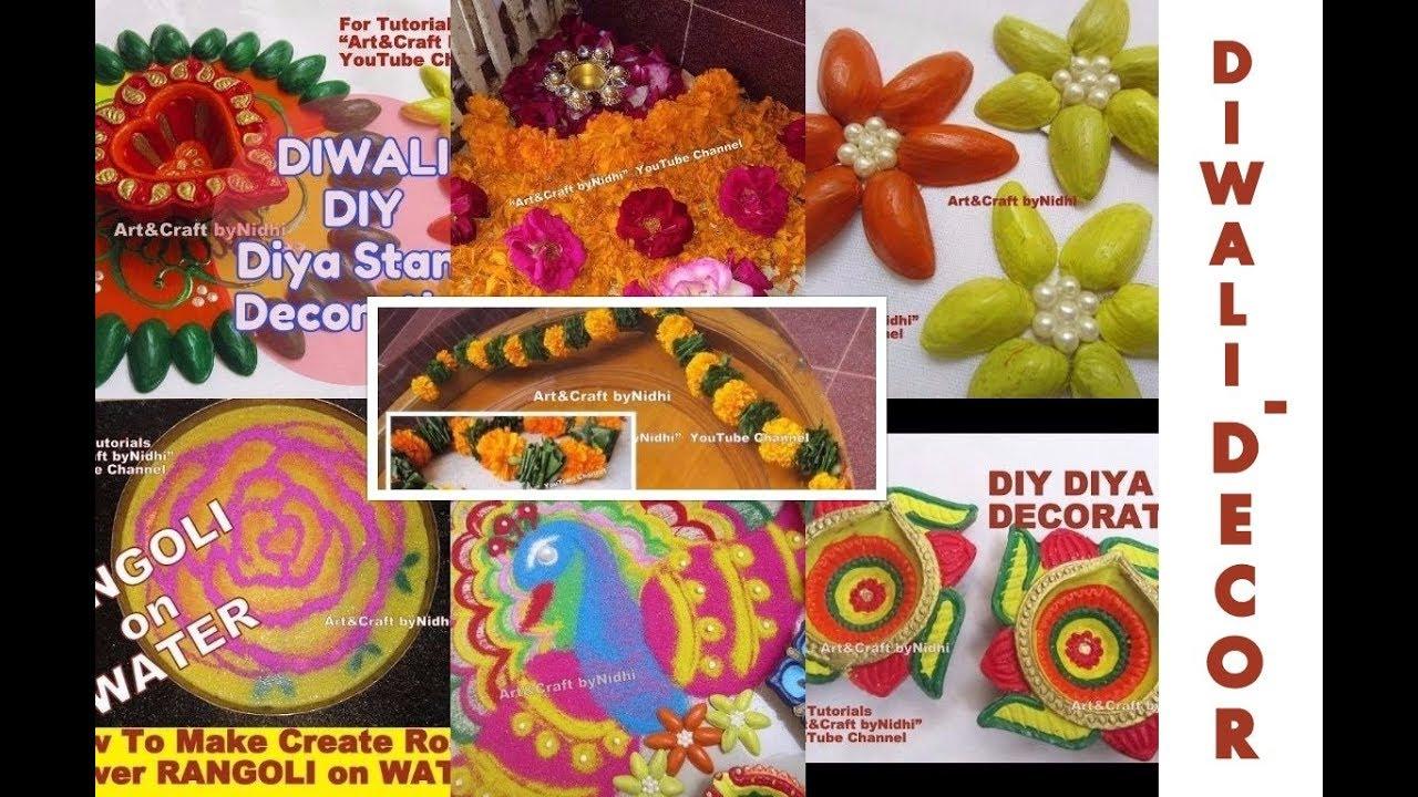 Diy diwali home decoration ideas water rangoli diya stand for Diya decoration youtube