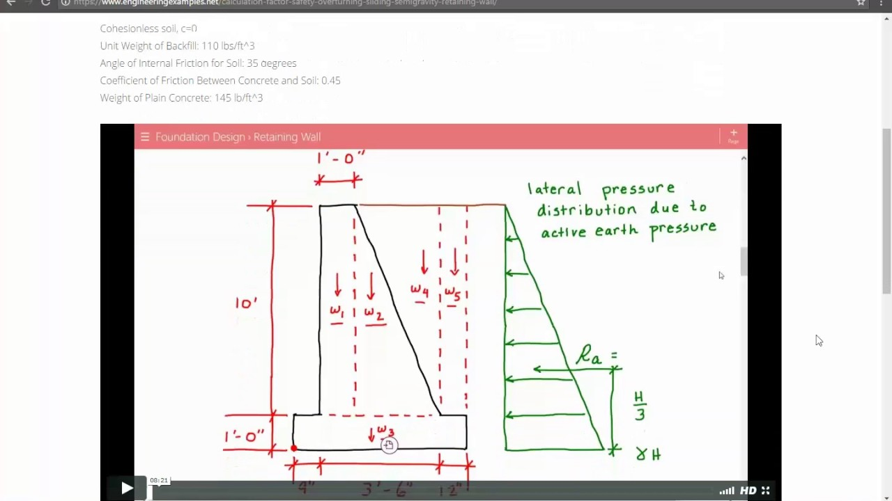 Design Of Retaining Walls Examples: Calculation Of Factors Of Safety Against Overturning And