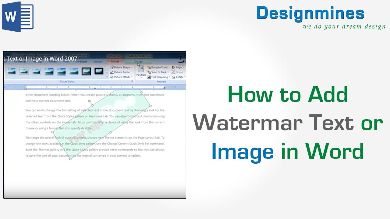 How to add water mark text or image in word 2007 youtube how to add water mark text or image in word 2007 ccuart Image collections