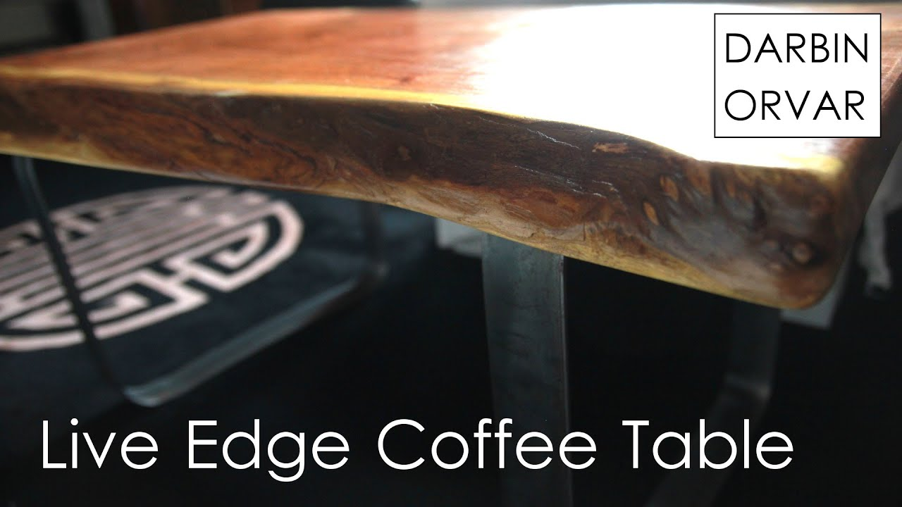 DIY Coffee Table With Live Edge Slab And Steel Base