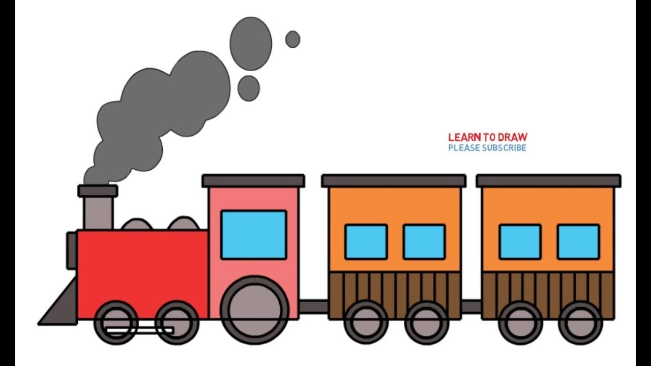 How To Draw A Old Train Step By Step Easy For Kids Youtube