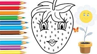 Раскраска - Клубника Мультик 🍓Раскраска для детей Учим цвета