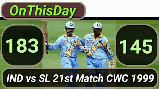 #OnThisDay in 26th May 1999 : India vs Sri Lanka 21st Match ICC Cricket World Cup