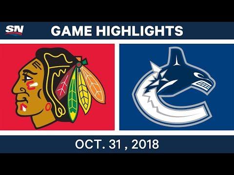 NHL Highlights   Blackhawks vs. Canucks - Oct. 31, 2018