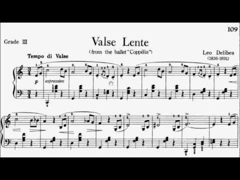 Piano Pieces for Children Grade 3 No.30 Delibes Coppelia Valse Lente (P.109) Sheet Music
