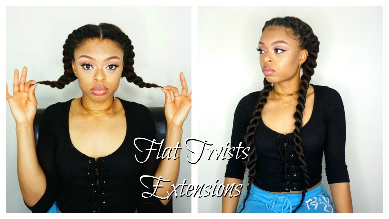 natural hair: flat twist with extensions