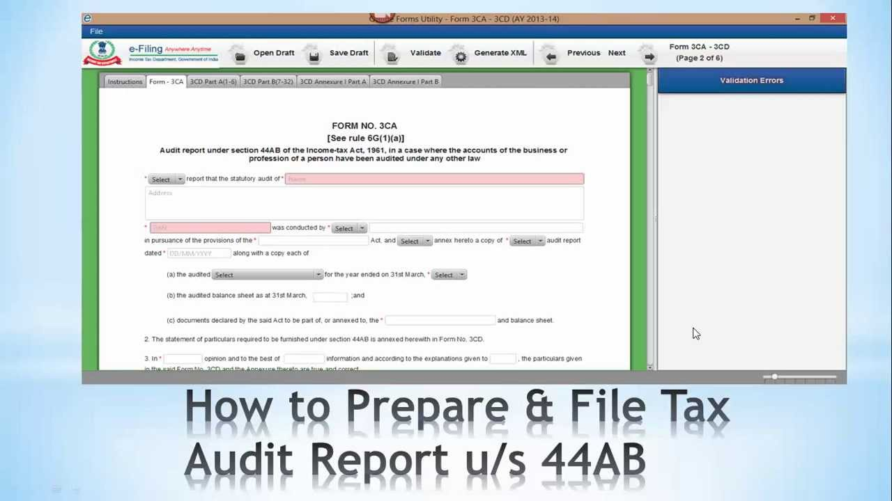 How To Prepare U0026 File Tax Audit Report Under Section 44AB Step  1 (India)    YouTube  Format For Audit Report