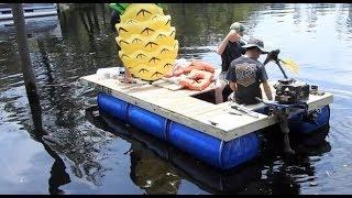 My $200 Homemade Pontoon Boat (55 Gallon Drums) thumbnail
