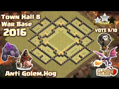 Clash of clans (Coc) Town Hall 8 {Th8} War base ANTI 3 Star,Dragon,Gowipe,Hog 2016 + Build & Replay