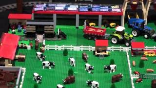 Lego Farm with cow milking machine and horses