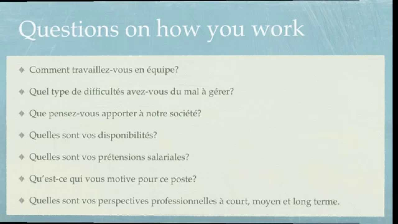job interview in french youtube