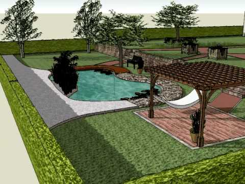 A sketch up garden 2 the eco friendly pool youtube for Garden design 3d mac