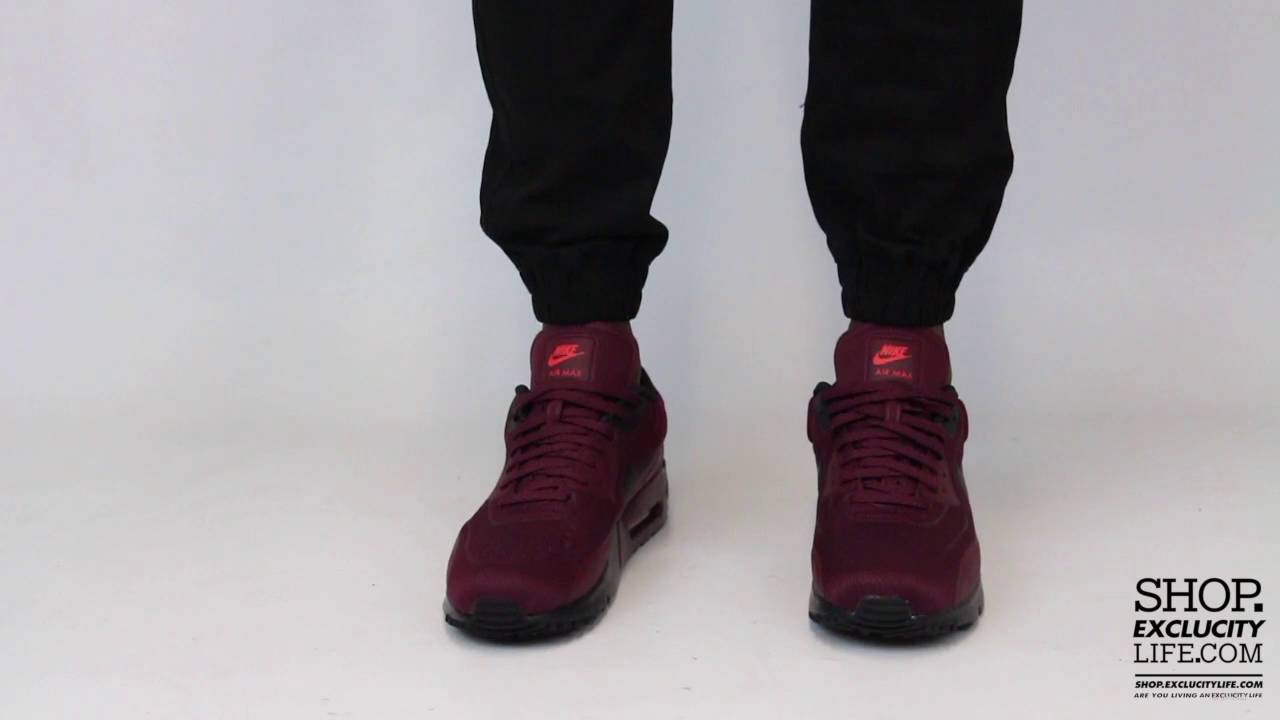 6ae02edee48e94 Nike Air Max 90 Ultra Plush Midnight Maroon On feet Video at Exclucity