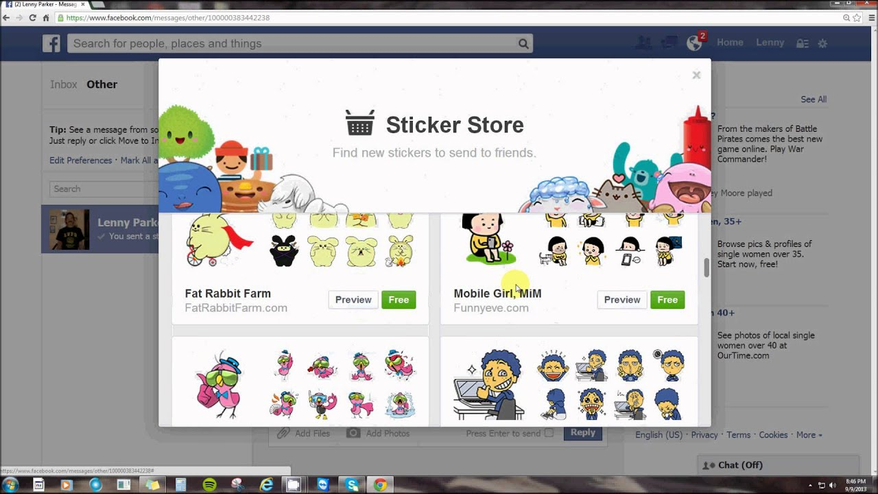 new stickers in facebook messages (how to get them) by lenny parker