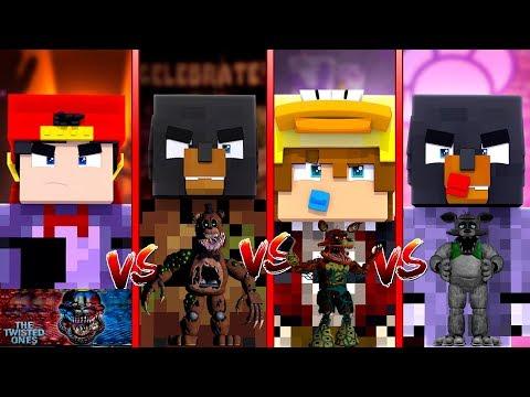 Minecraft TWISTED FNAF - TWISTED FREDDY (Donut) vs TWISTED BONNIE (Ropo) vs TWISTED WOLF (Baby Max)
