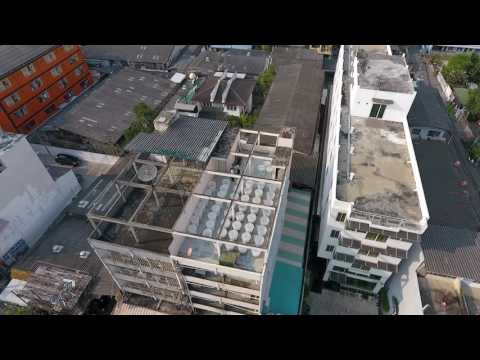 Drone video 1 of EnerGaia office rooftop spirulina farm