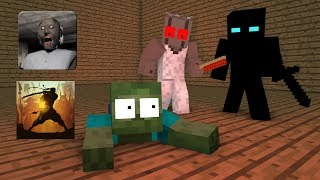Monster School : GRANNY VS SHADOW FIGHT - Minecraft Animation