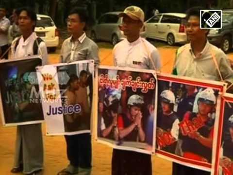 Protests in Myanmar against Thai verdict on British murders (Dec 30, 2015)