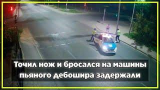 Точил нож и бросался на машины - пьяного дебошира задержали | Новости Казахстана
