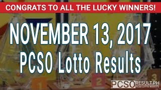 PCSO Lotto Results Today November 13, 2017 (6/55, 6/45, 4D, Swertres & EZ2)