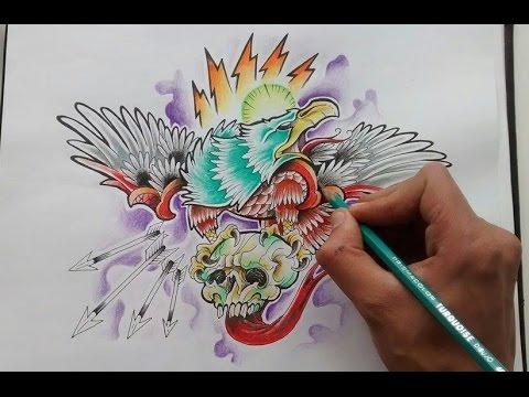 Diseño Aguila Neotradicional Eagle New School Tattoo Design