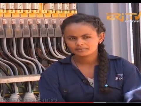 Young Eritrean engineers building solar system Infrastructure