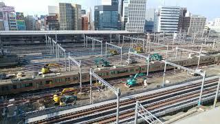 リニア中央新幹線の工事に備えるためのJR名古屋駅構内の在来線ホームの撤去作業工事   2020.11.13