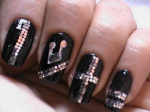 Sequin Nail Art Musical Nails ! - YouTube