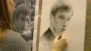 Рисование портрета по фото. Сухая кисть. Обучение рисованию спб