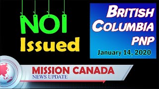 BC PNP. ITA Issued. British Columbia. 14 January | First tech draw of 2020