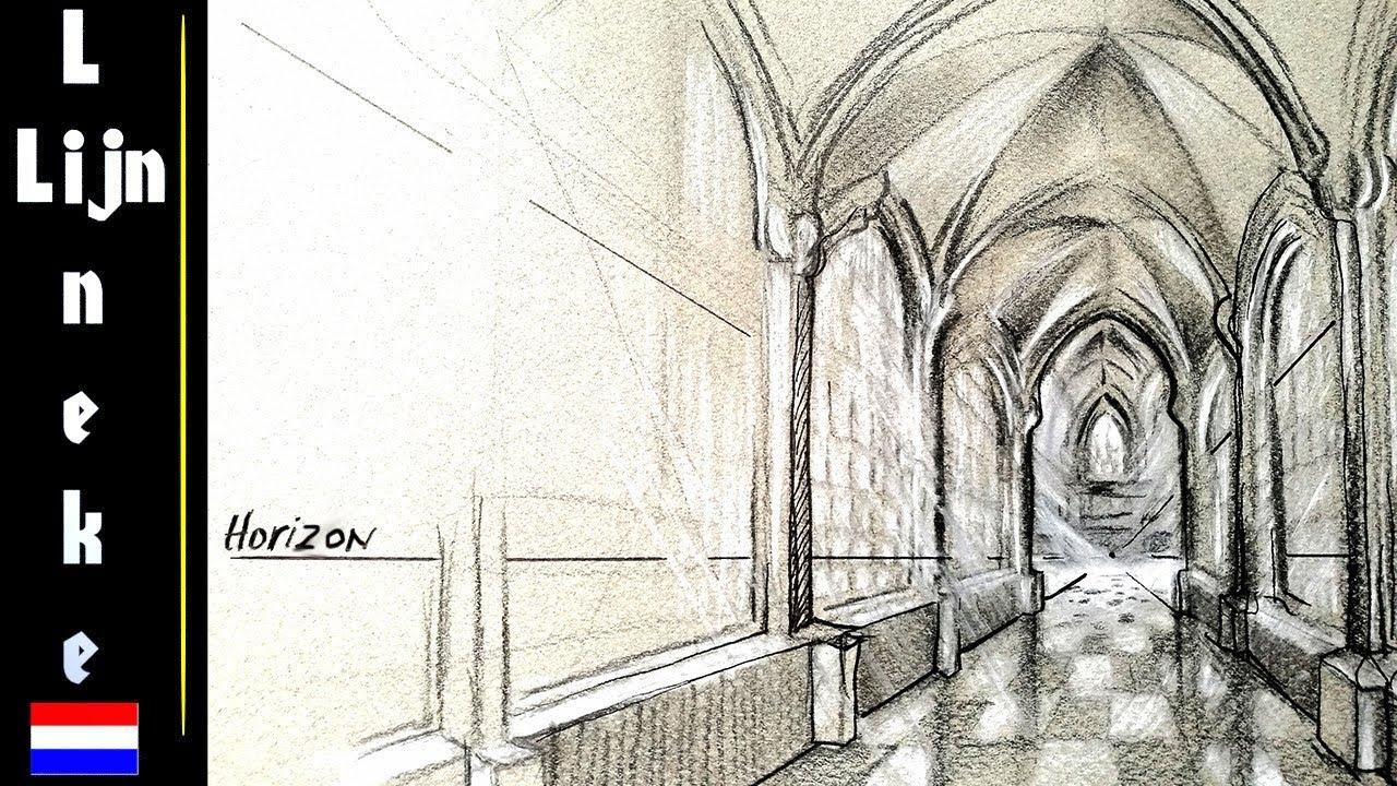Hoe teken je perspectief Kerk Interieur met kruisboog gewelf - YouTube