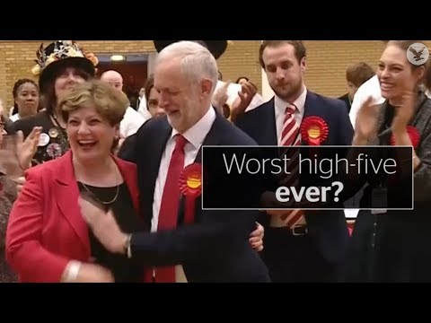 Corbyn in probably worst high-five ever