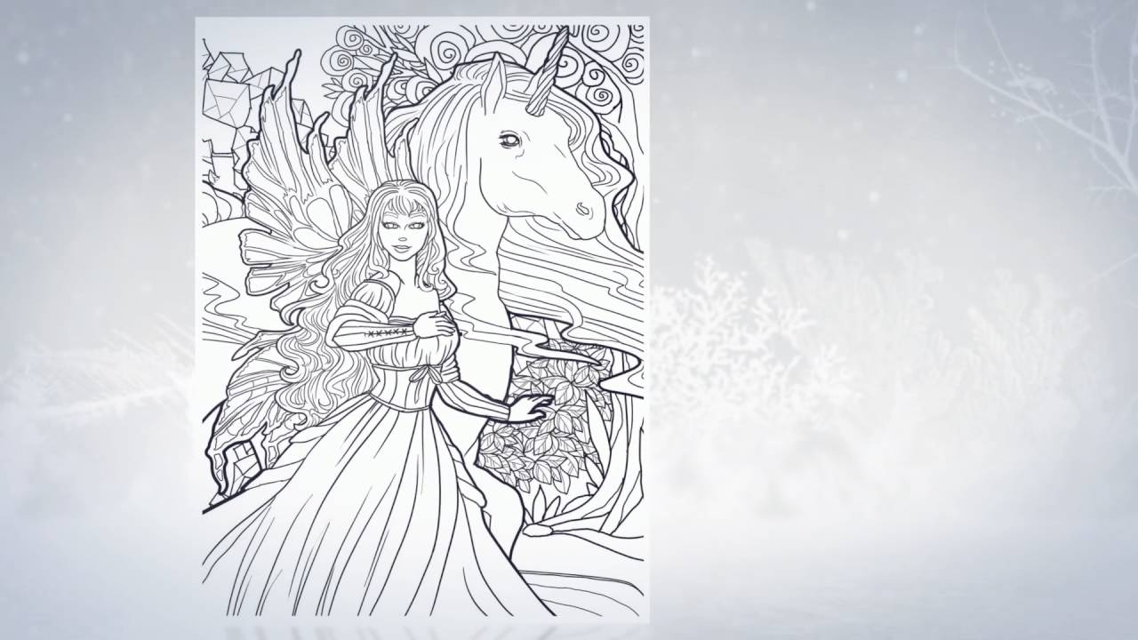 Magical Unicorns and Fairies Adult Coloring Book Trailer Fantasy Coloring Book for Adults YouTube