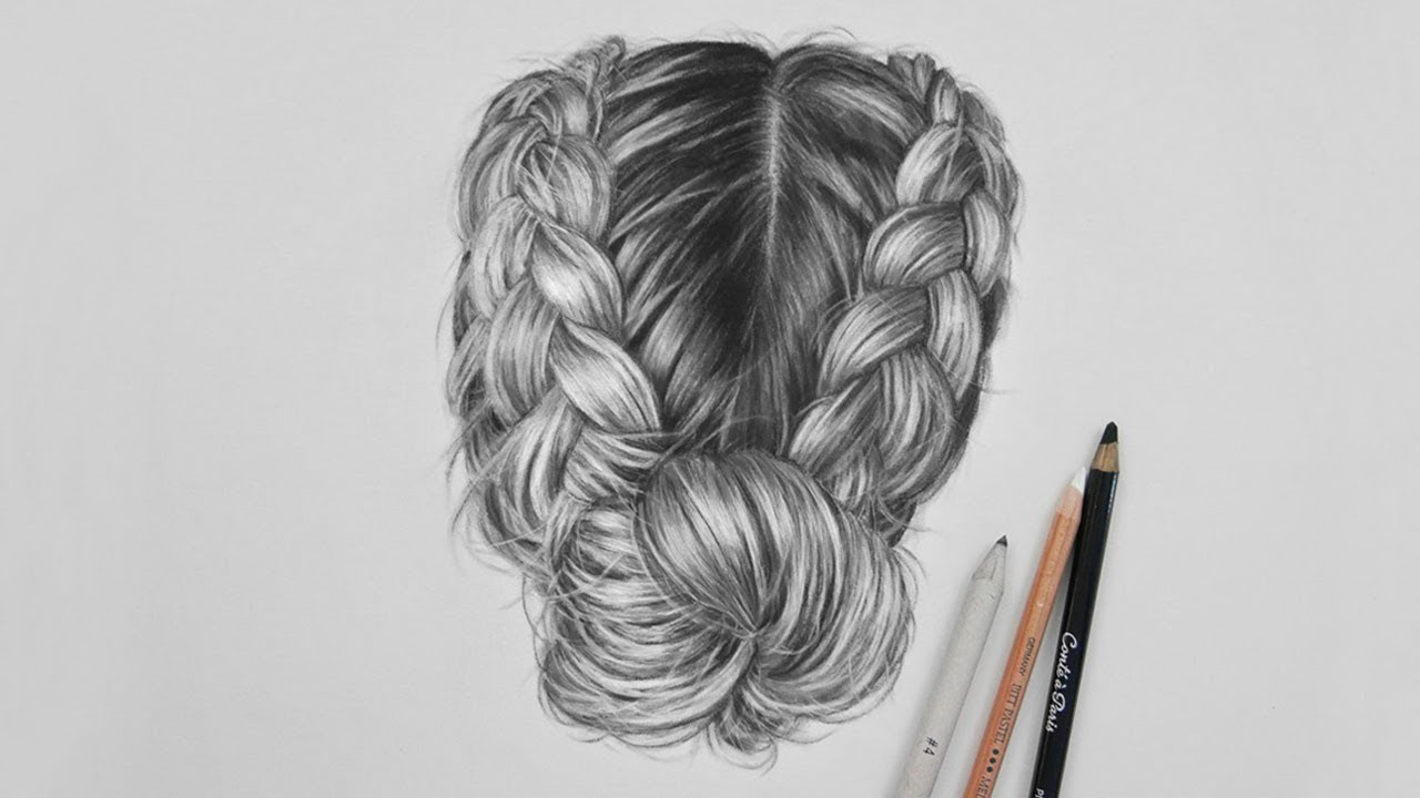 Drawing realistic hair with charcoal and a white pastel pencil