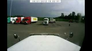 Lightning strikes truck driver in his truck