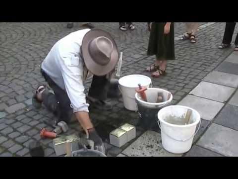 Gunter Demnig installing first Stolpersteine in BorkenHessen