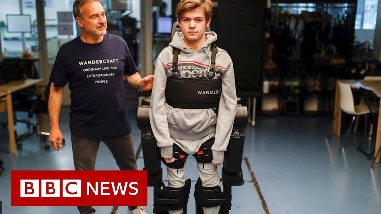Dad builds robotic exoskeleton to help son walk - BBC News