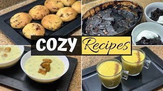 Warm recipes for Cozy Winter !!! Cookie | Garlic soup | Hot Pudding | Carrot Latte
