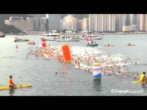 Hong Kong brings back harbour swim after pollution ban