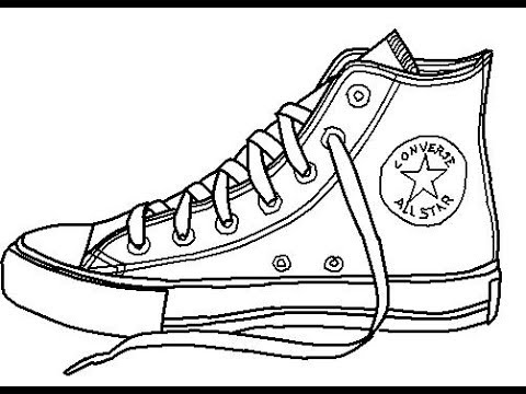 ‫طريقة رسم حداء how to draw converse‬‎ - YouTube