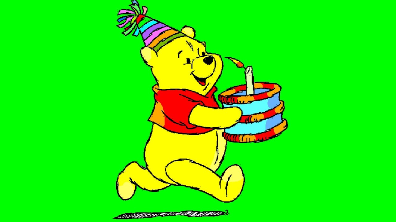 winnie the pooh holding birthday cake cartoon coloring pages