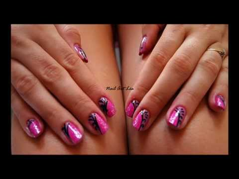 tutoriel nail art 11 rose et noir youtube. Black Bedroom Furniture Sets. Home Design Ideas