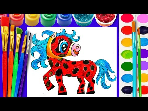 Thumbnail: Ladybug Horse Cute Coloring Page for Children Learn to Color for Kids Hand Watercolor Glitter Paint
